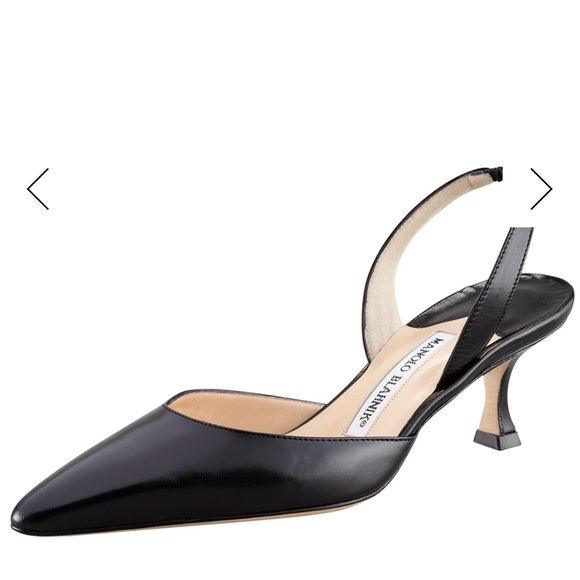 719faedd8a1 Manolo Blahnik Carolyne Black Leather Pump. M 5aac0a6a3316272cc04cf3b9